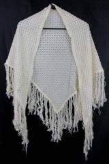 California Things Cream Ecru Shawl Cover Up Crochet Stitch with Fringe
