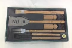 6 Piece BBQ Pro Real Oak Bar B Que Tool Set New Old Stock