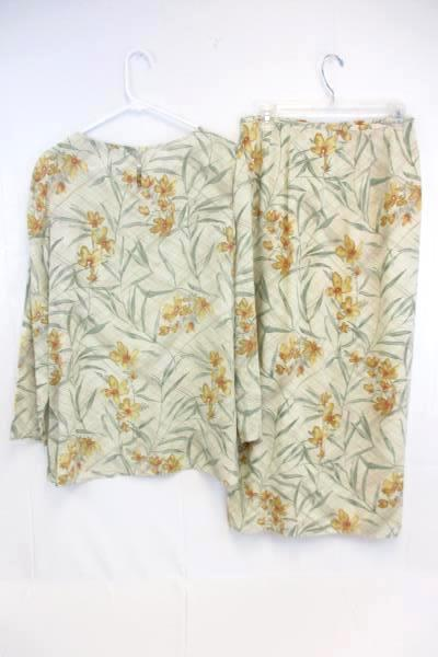 JH Collectibles Wrap Skirt & Long Sleeve Blouse Set Floral Women's 8