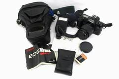 Canon EOS Rebel 35-80mm Camera 200e Speedlite Flash Slave Off Shoe Cord Case Bag