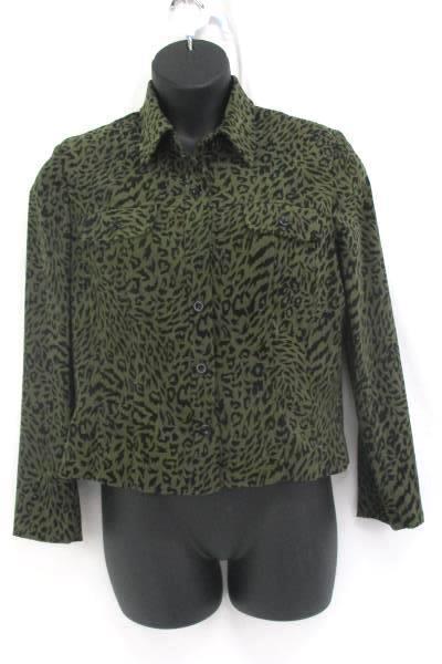 Lennie for Nina Leonard Green Leopard Print Blazer Women's Size 12 Button Up