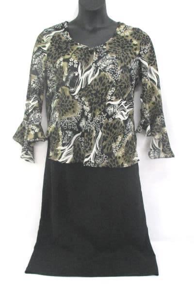 GNW Sheer Blouse Floral Print Bell Sleeve Sz L Positive Attitude Black Skirt 14