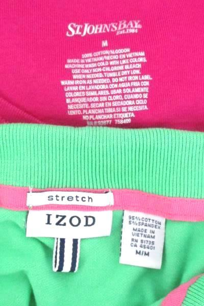 IZOD Stretch Collared Tee St Johns Bay Top Blouse Lot 2 Women's Size M