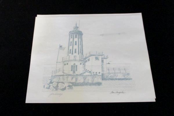 Set of 4 1975 Lighthouse Drawings Sunset Pictorial California Coast Joe Seney