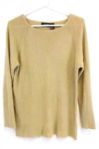 Women's Liz Claiborne Brown Beige Sweater Crewneck Long Sleeve Size M ~ VINTAGE