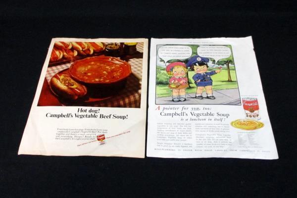 2 Vintage Campbell's Soup Advertising Ephemera Kids Vegetable Soup Beef Magazine