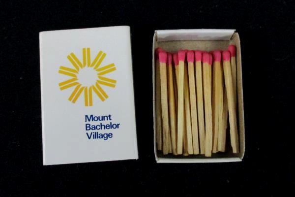 Vintage Mount Bachelor Village Ski Resort Matchbook Unused Unstruck Wood Match