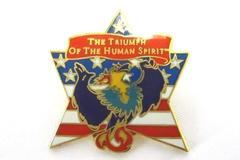 1995 Triumph of the Human Spirit Flag Phoenix Enamel Lapel Pin Gold Tone Brooch