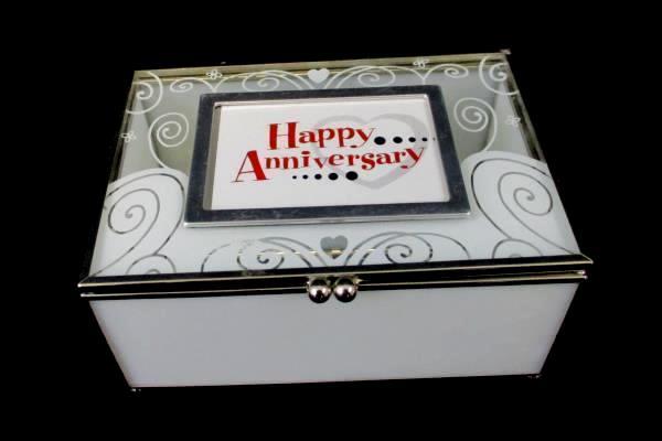 Enesco Clear Glass Box Interchangeable Events Birthday Anniversary Congrats Love