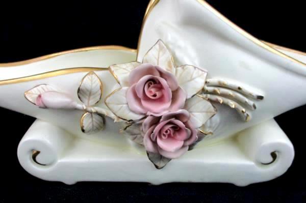 Vintage Creme Pink Rose Gold Tone Detail Floral Planter Oblong Scroll Base