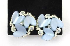BSK Vintage Costume Jewelry Earrings Silver Tone Floral Hearts Lucite Clip On