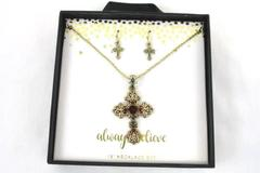 """18"""" Necklace and Earring Set Crosses Gold Red Jewels Always Believe"""