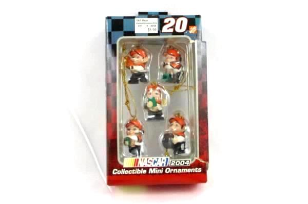 Collectible NASCAR #20 Mini Elf Pit Crew Ornaments 2004 in Box Home Depot
