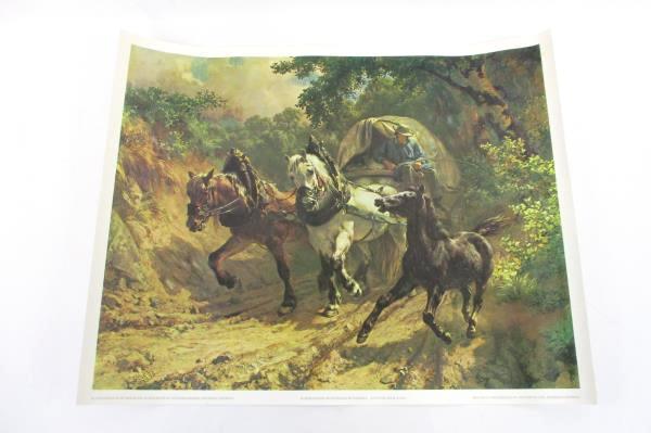 Vintage Lithoprint Rudolf Koller Horse & Carriage Covered Wagon Western Travel