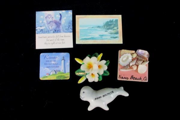 Lot of 6 Coast Ocean Seashells Miracles Seal Hibiscus Hawaii Souvenir Magnets