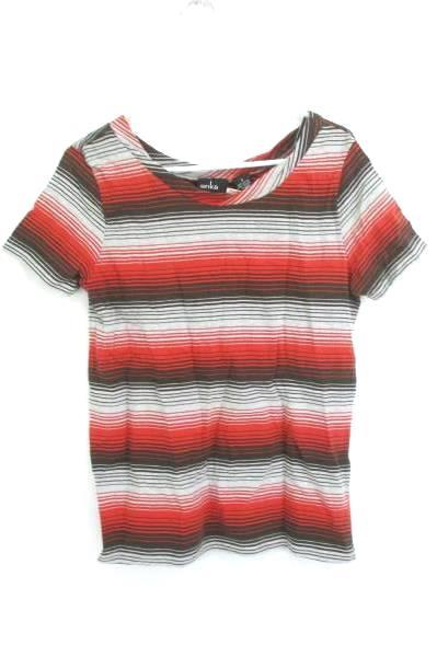 Erika Striped Crimson Boat Neck Cap Sleeve Shirt 100% Cotton Women's Small