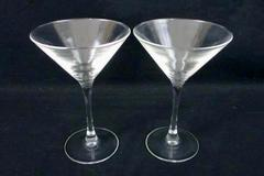 Pair of 2 Clear Glass Martini Glasses Bar Accessory Date Night Martini for Two