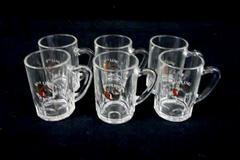 Lot of 6 Rock Bock Stein Shot Glasses Clear Handled Miniature