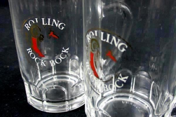 Lot of 6 Rock Bock Stein Shot Glasses Clear Handled Miniature