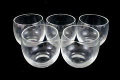 Set of 5 Clear Glass Stemless Wine Glasses