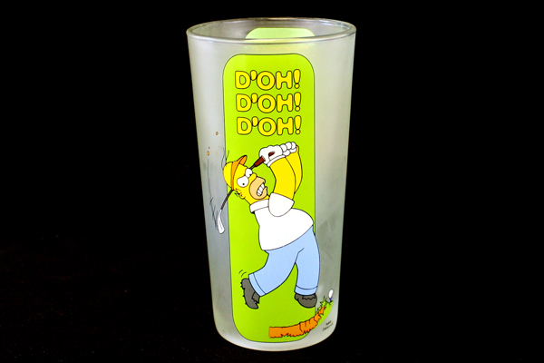 Tall Frosted Glass Cup Fox Homer Simpson Golfing 2002