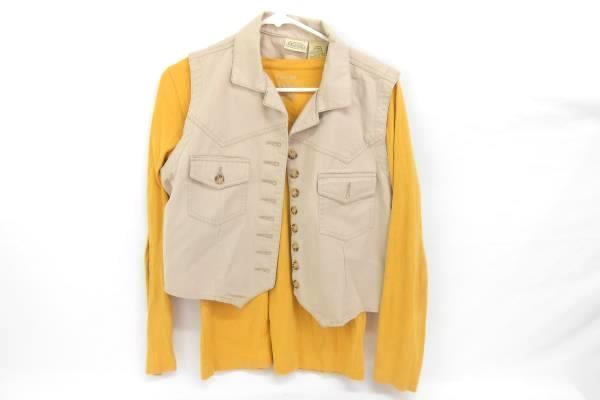 Lot of 3 Tops 2 Long Sleeve Goldenrod Brown Vest Beige Women's Large
