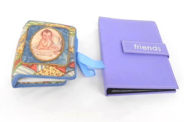 Lot of 2 Small Picture Albums Purple Friends Easy Fasten Fabric Covered Baby Alb