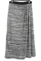 Christopher & Banks Gray Grey Stripes Elastic Waist Faux Wrap Skirt Women's M