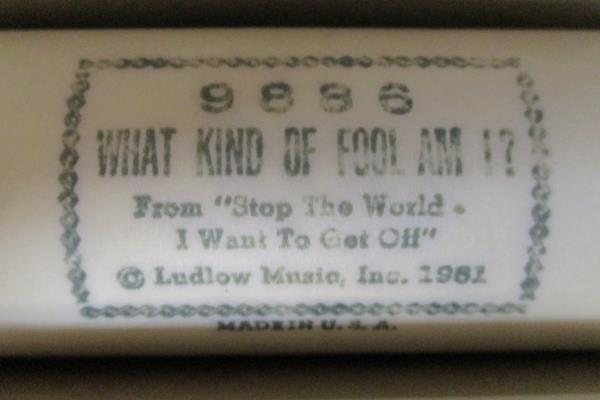 "QRS Word Roll Player Piano Roll ""What Kind Of Fool Am I?"" #9886 1961 Dick Watson"
