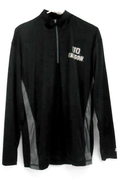 Russel Oregon Ducks 1/4 Zip Pullover Jacket Men's M Black Gray Silver