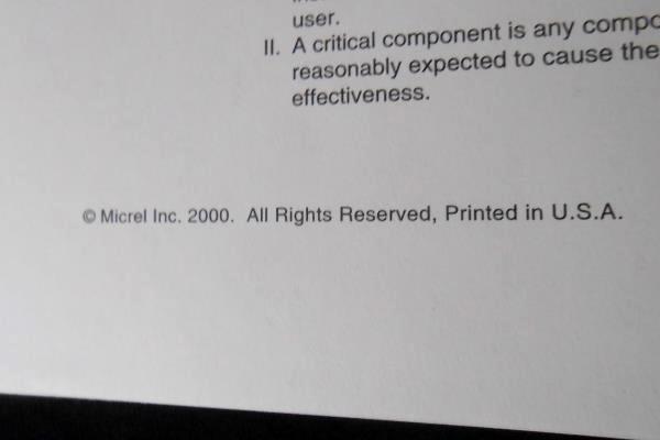 Micrel Synergy High-Speed ICs Data Handbook 2000 Logic And Communication