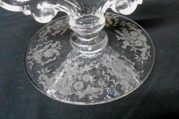 Heavy Clear Pressed Glass 2 Arm Candelabra Etched Floral Base Taper Candle
