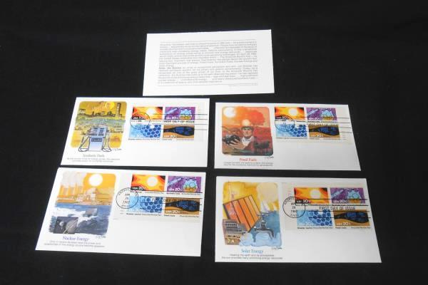 4 USPS FDC/FDI 1982 Solar Energy Nuclear Fossil Synthetic Four Block Stamps
