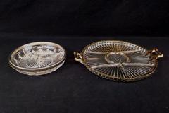 2: Vintage Gold Rim Glass Divided Serving Platter Glass Divided Dish Silver Rim