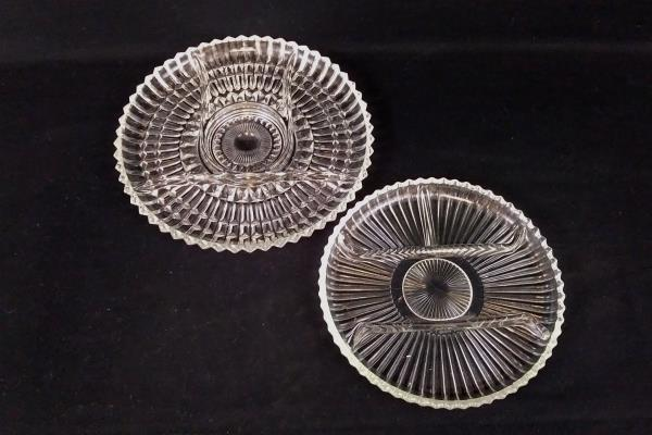 Set of 2 Clear Pressed Glass Divided Appetizer Hors d'oeuvres Serving Tray