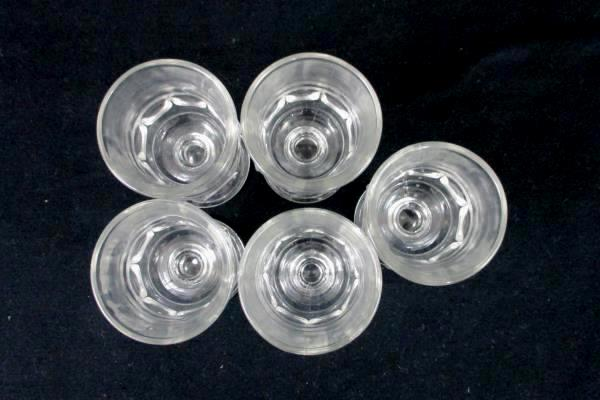 Set of 5 Pressed Glass Thumb Print Aperatif Sherry Stemware