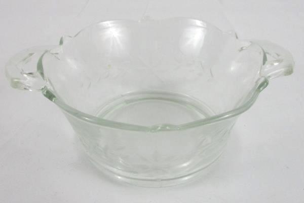 Glass Bowl Small Etched Handles Cute Flower Pattern
