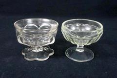 Lot of 2 Vintage Bowls Elegant Clear Glass Hobnail Pedestal