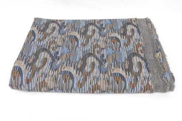 2 Vintage Fabric Pieces Blue Brown Geometric Woven Print Solid 41X62 66X62