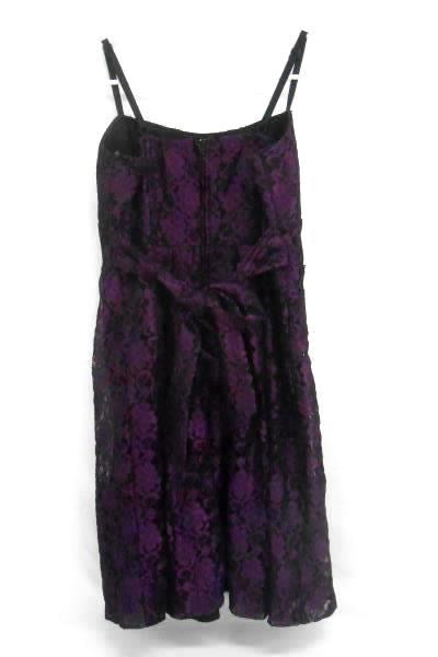 Studio Y Black w/ Purple Lace Midi Dress Pleated Spaghetti Strap Women's 9/10