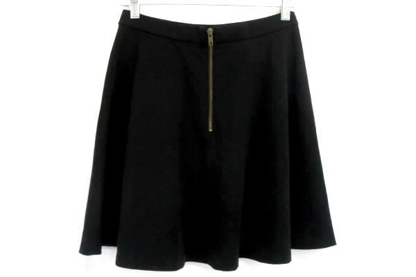 Halogen Black Mini Circle Skirt Flounce A line Zippered Back Stretch Women's S
