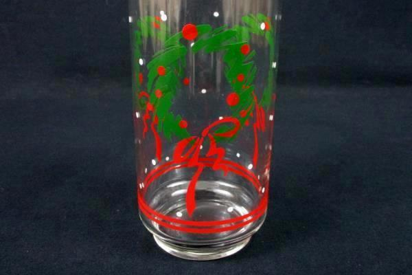 Lot of 3 Christmas Clear Glass Juice or Eggnog Cups Wreath and Mistletoe Designs