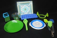 Lot of Blue Green Kitchen Ware Square Platter Apple Cutter Grater Ice Cube Trays