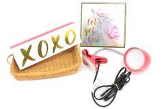 Lot of Girl Dorm Bedroom Accessory Decor Table Lamp Sign Basket Pink Orange
