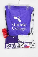 Linfield College Lot T-Shirts Size M Water Bottle Drawstring Backpack Bag