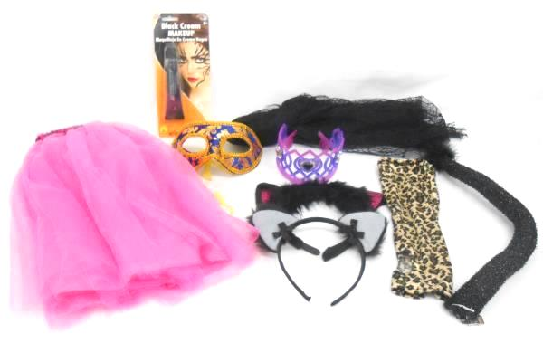 Lot of Girl Halloween Costume Accessory Pieces Makeup Wings Cat Ears Crowns More