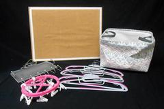 Lot of Dorm Bedroom Accessories Cork Board Tote Jewelry Holder Rubber Hangers