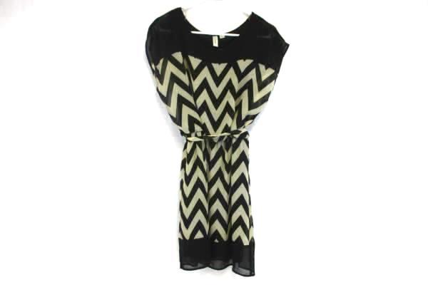 Tacera Womens Black & Cream Chevron Boat neck Sleeveless Shier Dress Size S