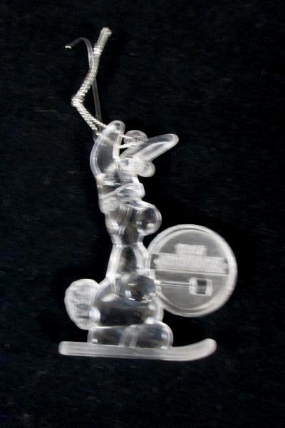 1992 Energizer Battery Bunny Mascot Christmas Ornament Clear Acrylic