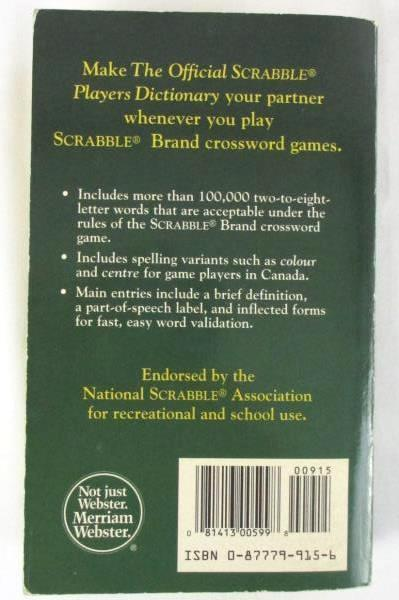 The Official Scrabble Players Dictionary Third Edition 1996 Milton Bradley Co.
